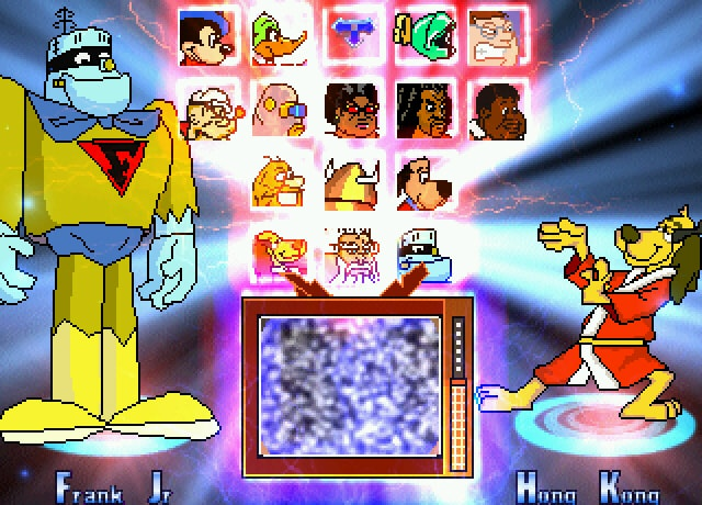 Saturday Mornin' Mayhem's character select screen, featuring MS Paint spritework and your favorite forgotten cartoon heroes