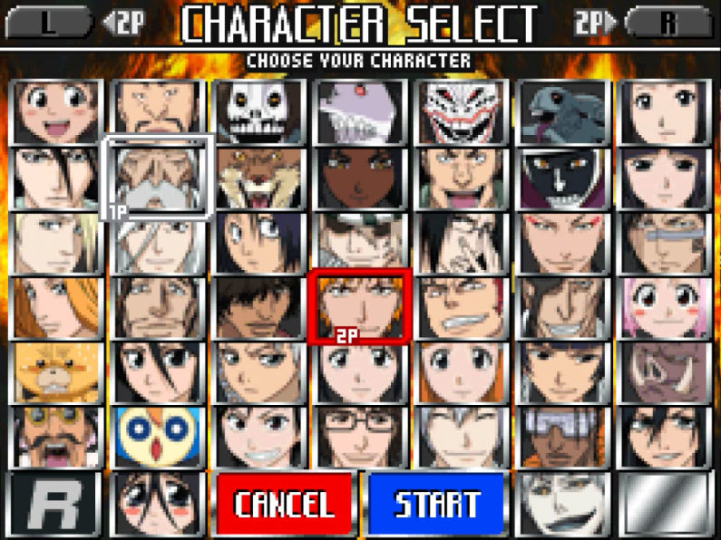 Densely packed character select screen
