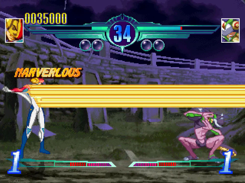 "Gameplay screenshot, featuring a ""MARVERLOUS"" combo"