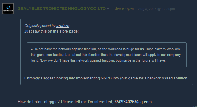 Chaos Generation developer asking someone to email him about GGPO.